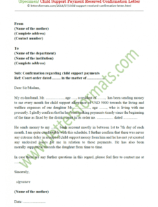 Editable Proof Of Child Support Letter Template Excel