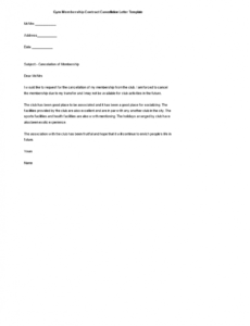Free Gym Membership Cancellation Letter Template Pdf Example