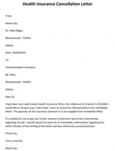 Insurance Cancellation Letter Template Pdf