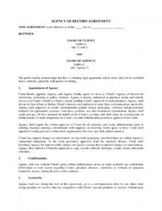 Printable Advertising Agency Of Record Letter Template Doc