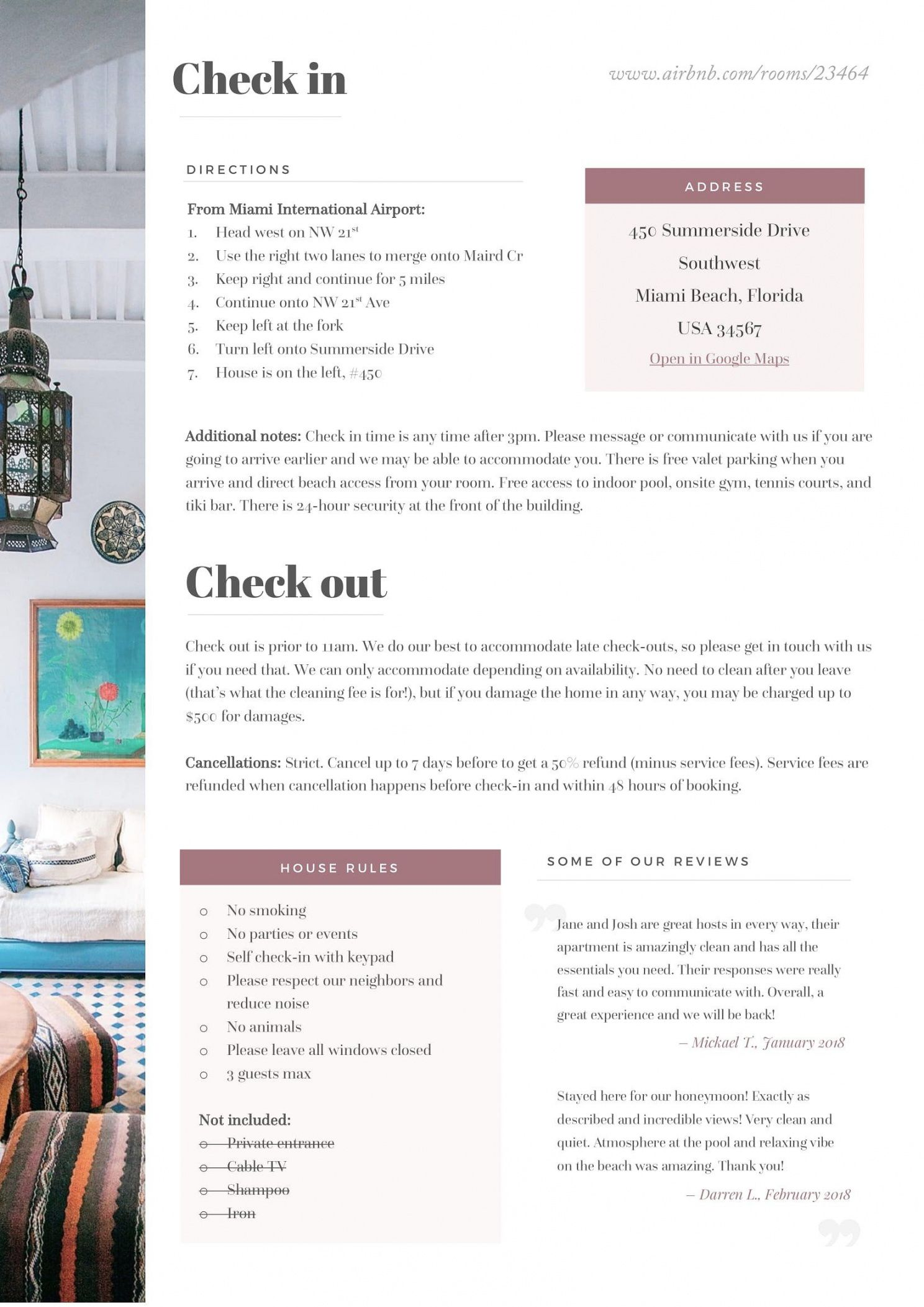 Printable Bed And Breakfast Welcome Letter Template Word Example