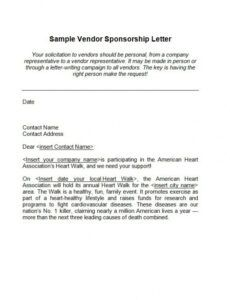 Printable Sponsorship Request Letter Template Doc Example