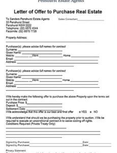 Professional Real Estate Offer Letter Template Pdf