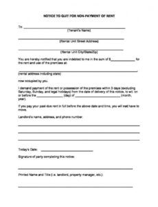 Professional Tenant Eviction Notice Letter Template Excel