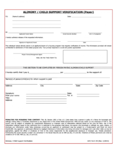 Proof Of Child Support Letter Template Pdf