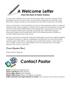 Welcome Letter For Church Visitors Template