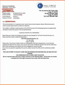 Best Debt Collection Settlement Letter Template Doc Sample