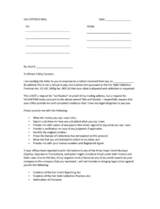 Best Debt Validation Letter Template Pdf Example