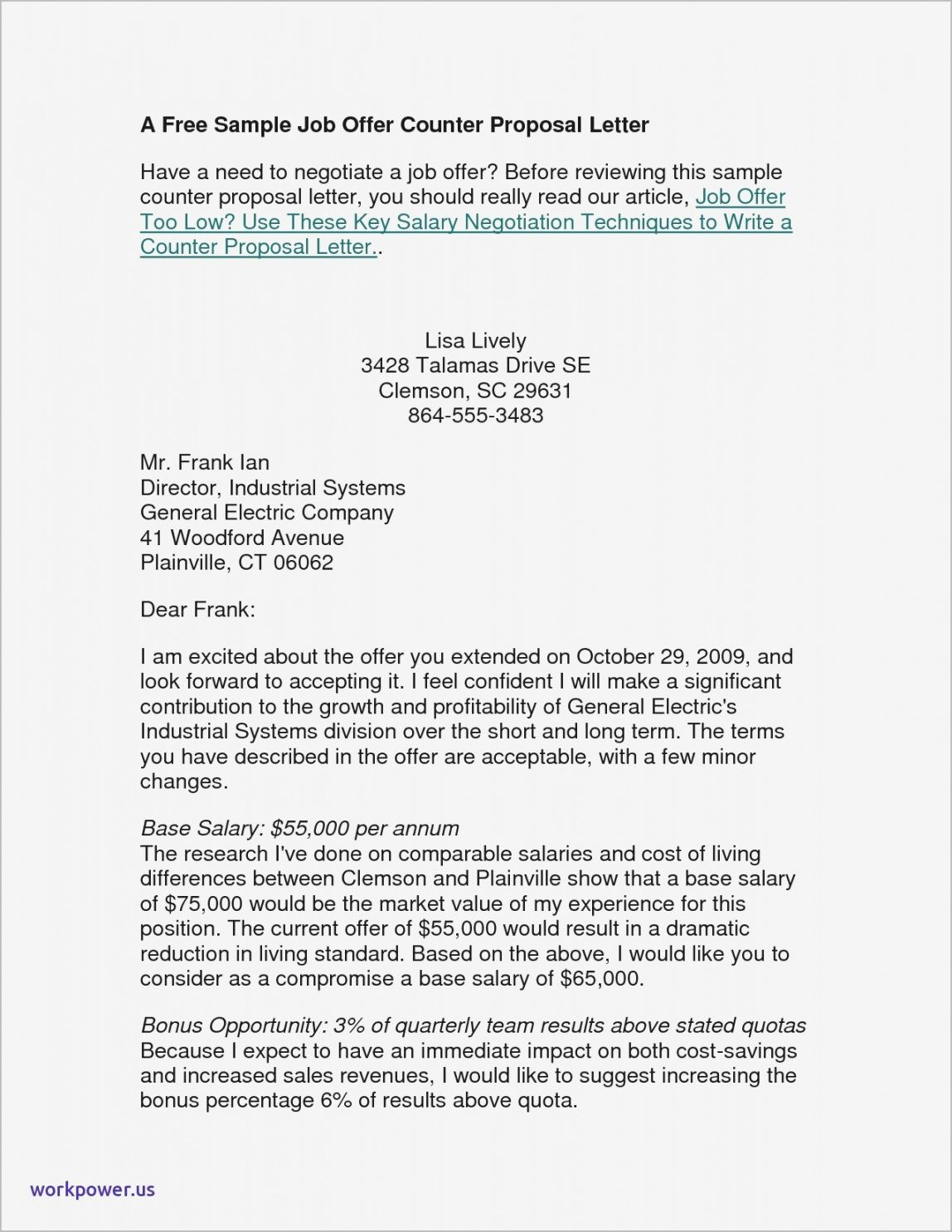 Best Employment Counter Offer Letter Template Word Example