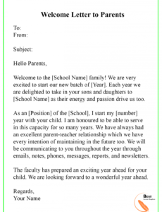 Best Preschool Welcome Letter To Parents From Teacher Template Pdf