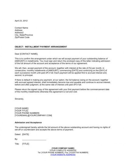 Debt Repayment Letter Template Word Sample