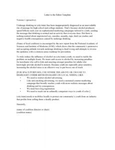Editable Letter To The Editor Template