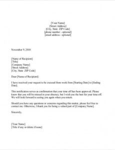 Editable Vacation Request Letter Template Doc Example
