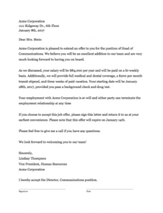 Free Business Offer Letter Template Doc