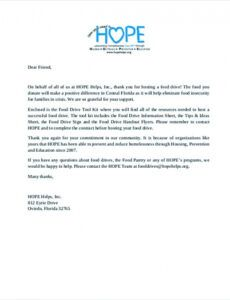 Free Donation Request Letter Template For Food Doc