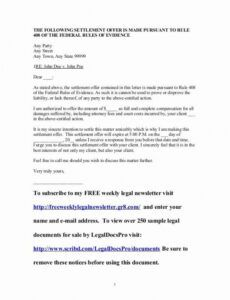 Free Settlement Offer Letter Template Excel Example