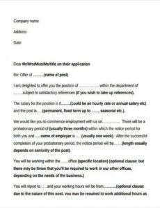 Printable Business Offer Letter Template Doc Example