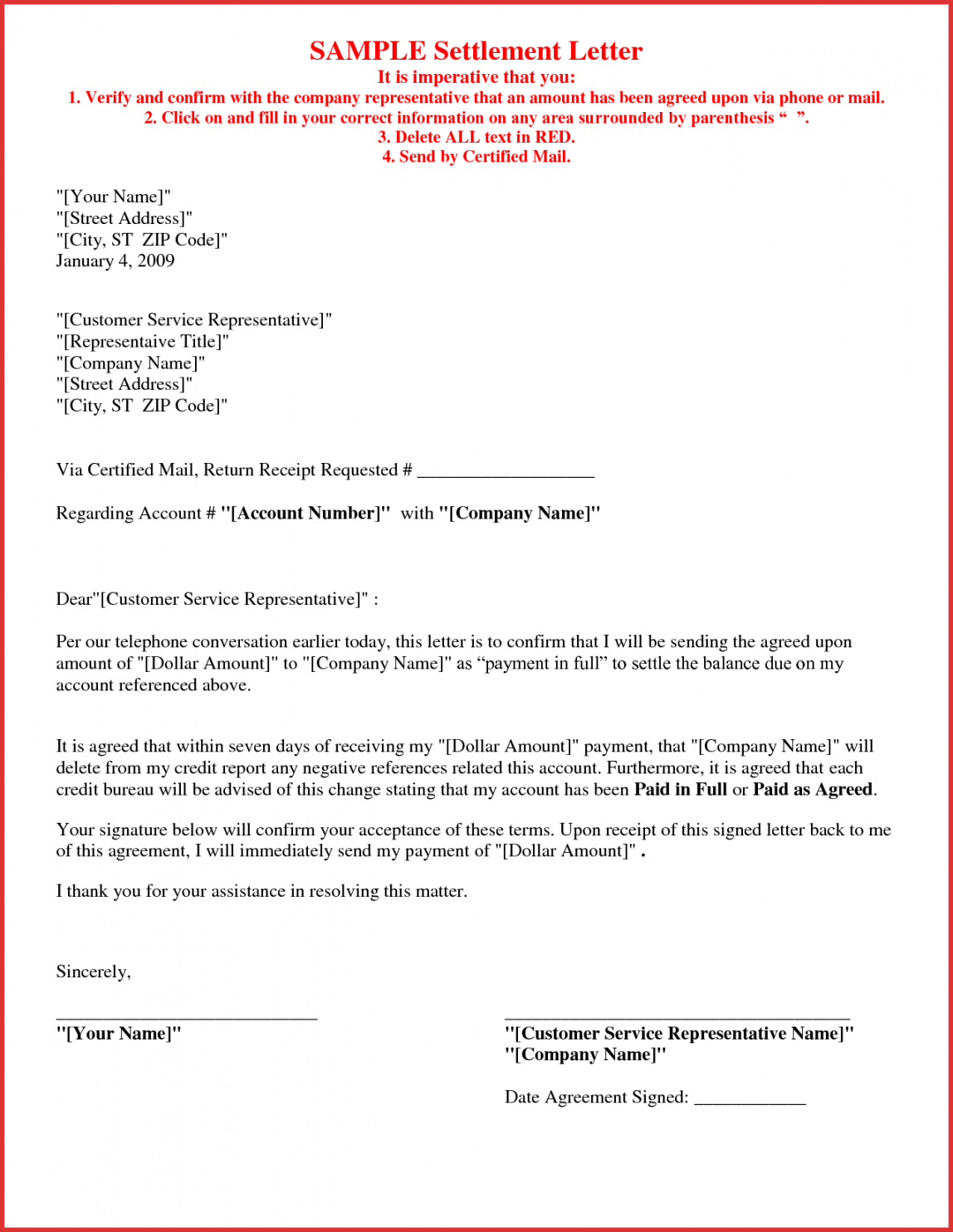 Printable Debt Collection Settlement Letter Template Excel Example