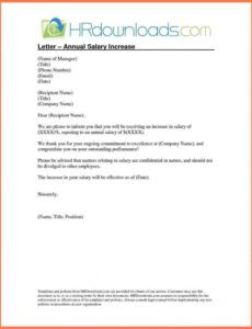 Professional Pay Increase Letter Template  Sample