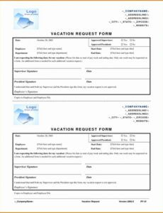 Professional Vacation Request Letter Template Doc Sample