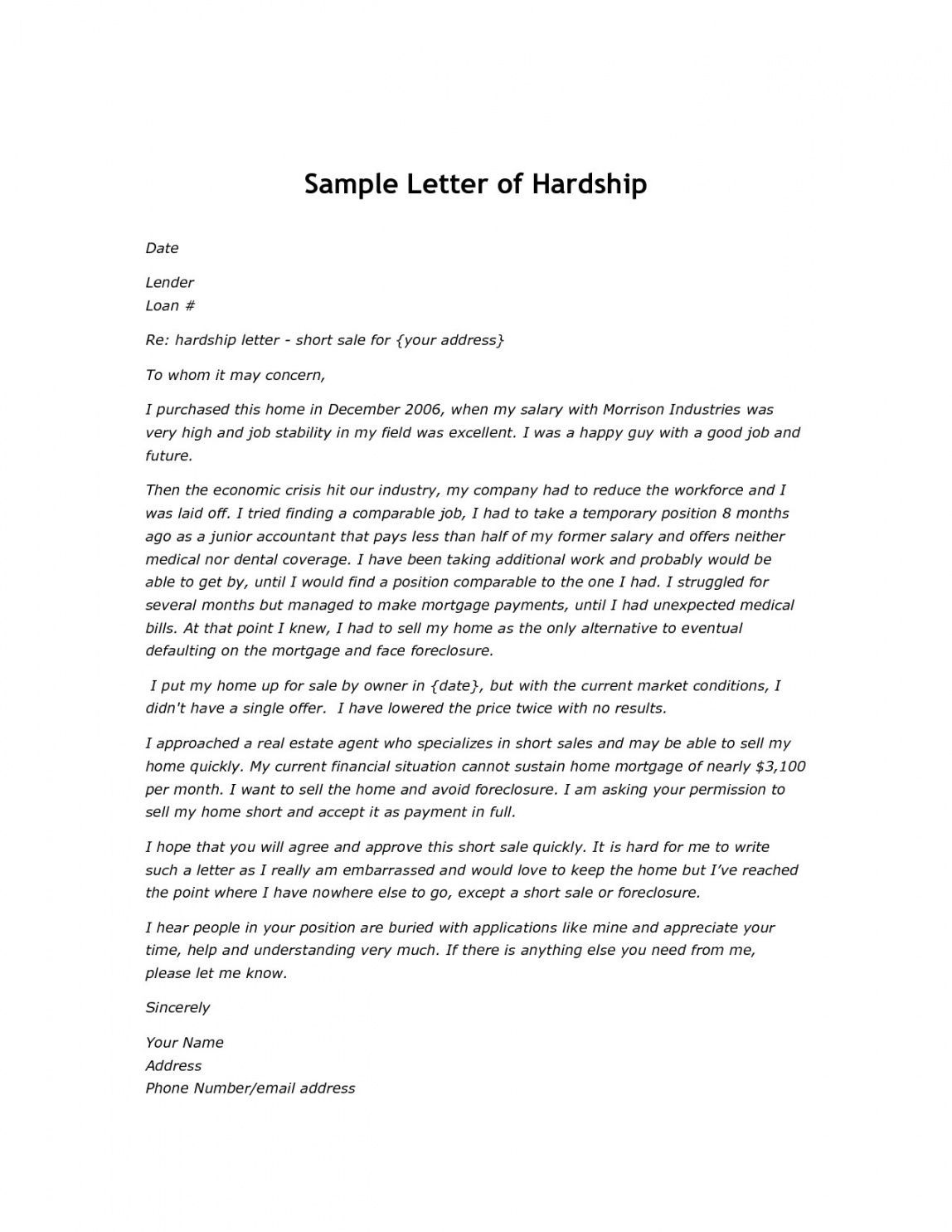 Costum Hardship Letter For Mortgage Modification Template Word