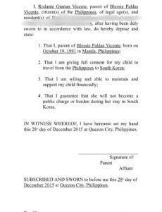 Editable Affidavit Of Support Template Letter Word Example