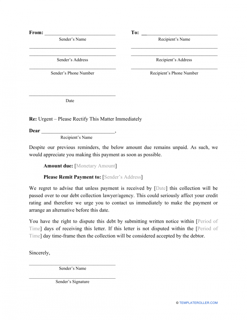 Editable Debt Recovery Letter Template Doc Example