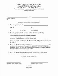 Free Affidavit Of Support Template Letter Pdf Sample