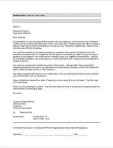 Free Promotional Offer Letter Template  Sample