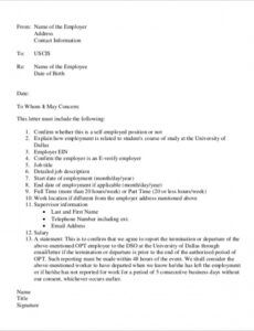 Professional Verification Employment Letter Template  Sample