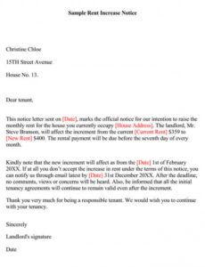 Best Rent Increase Letter To Tenant Template Excel Example