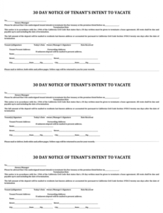 Free 30 Day Notice To Vacate Letter To Tenant Template Pdf