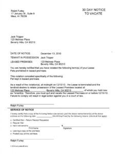 Printable 30 Day Notice To Vacate Letter To Tenant Template Excel Sample