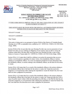 Printable 30 Day Notice To Vacate Letter To Tenant Template Pdf Sample