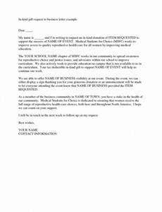 Printable Corporate Donation Letter Template Word