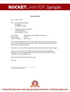 Editable Notification Of Death Letter Template