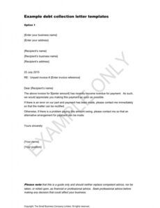 Free Debt Collection Response Letter Template Excel