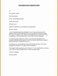 Unemployment Denial Appeal Letter Template Excel Example