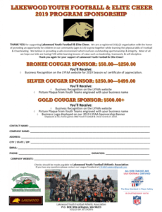 printable sponsorship  lakewood youth football  elite cheer youth sports fundraising letter